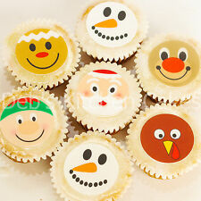 Christmas Cupcake Toppers - Santa - Snowman- Reindeer - Edible Wafer - 4cm x 24