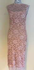 Ladies Sleeveless Midi Blush Pink Lace Dress Size 12 Amy Childs Sweetheart Neck