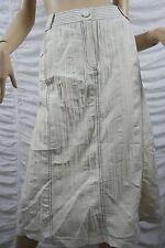 WOMBAT oatmeal beige linen blend wrinkled A-line skirt size 16 BNWT