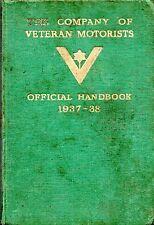 CARS & MOTORING - THE COMPANY OF VETERAN MOTORISTS' OFFICIAL HANDBOOK 1937-38