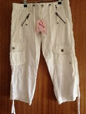 NEW SASS Clothing CROPPED IVORY TROUSERS, Size 8