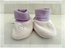 Petites Chaussures Chaussons Blanc Plumetis Mauve Coeur  Bébé 9 Neuf