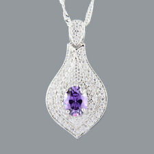 Stunning 18K White GP Cubic Zirconia Purple Amethyst Oval Cut Pendant Necklace