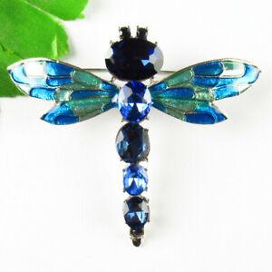 60x55x8mm Blue Crystal Tibetan Silver Dripping oil Brooch J91135