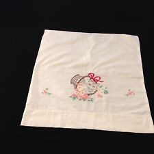 Vintage Hand Embroidered Cat In Flower Basket Pillow Case Cutter