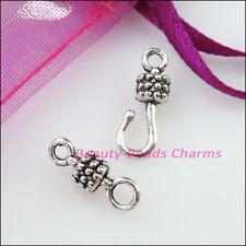 12Sets Tibetan Silver Tone Barrel Bracelet Toggle Clasps Connectors