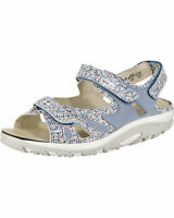 Waldlaufer Hanni Blue MOSAIC Leather Touch Fasten Orthotic Wide Fitting Sandals