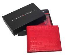 Men's Tommy Hilfiger Textured Leather Lite Red Tan Pocket Wallet Cards Pocket