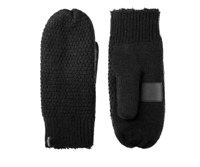 Isotoner Womens One Size Fits Most SmartDRI Knit Solid Mittens Touchscreen Black