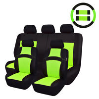 Green color sandwich full set auto car seat cover with car steering wheel covers