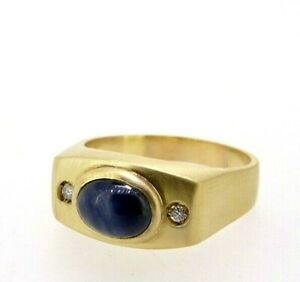 Men's Ring Yellow Gold Solid 18 K New with Diamonds And Sapphire