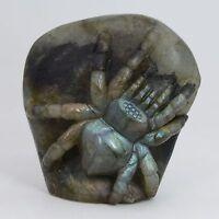 """k24508 72mm  Labradorite gemstone carved  spider statue figurine decor 2.8"""""""