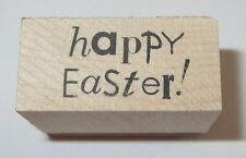 """Happy Easter Rubber Stamp Saying PSX Holidays Wood Mounted 1.25"""" Long"""
