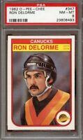 1982-83 o-pee-chee #347 RON DELORME vancouver canucks PSA 9