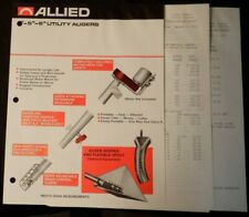 "Allied 4"" - 5"" - 6"" Utility Augers 2-page Brochure and two Price Sheets 1976"