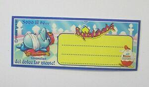 ADESIVO KINDER FERRERO SQUALIBABA 1995 Old Original Sticker (cm 10 x 4)