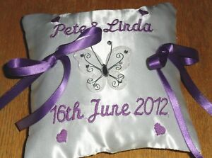 Personalised embroidered wedding ring pillow