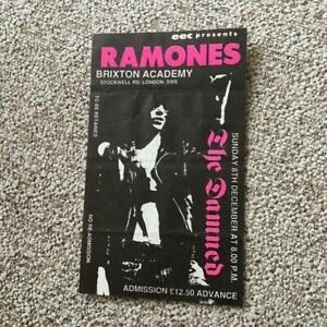 Ramones The Damned  ticket Brixton Academy 08/12/91 #1313