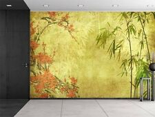 Japanese Garden Plants Over a Gold Textured Background - Wall Mural - 66x96