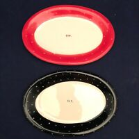 Rae Dunn Black & Red Polka Dot Oval Snack Plate Set of 2 Dimples 2017