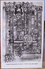Irish RPPC PAGE FROM BOOK OF KELLS Dublin Ireland Trinity Library Biderai Photo