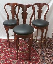 "SET OF 3 QUEEN ANNE BAR STOOLS MAHOGANY  SWIVEL SEAT H47"" Seat H 30.5"""