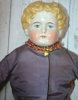 "1880s Exrta Large 30"" Vintage China Head Doll Orginal Body Blond Curly Hair"