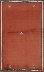 Vintage Abstract Gabbeh Bordered Area Rug Wool Hand-knotted Oriental Carpet 4x5