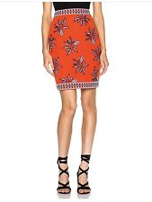 Elle Sasson Skirt Francesca Beaded & Embroidered Linen-Blend Red Size 34 $615