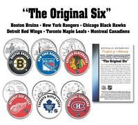 * THE ORIGINAL SIX * NHL TEAMS 6-Coin Set Canada & US Quarters Legal Tender
