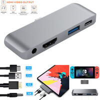 Type-C Pro Hub Adapter PD Charger 4K HDMI USB 3.5mm Jack For iPad Macbook Switch