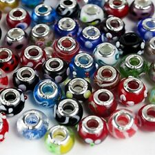50 Piece Lot Lampwork Murano Glass European Mix Beads L6