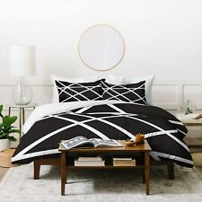 UO Deny Designs Vy La Black White Lines Geometric Duvet Cover Twin XL New T-27-8