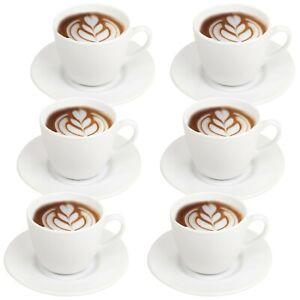 6 x Bormioli Rocco Opal Glass Coffee Cups & Saucer Set Espresso Cappuccino Gift