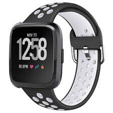Silicone Watch Band Strap Wristband  For Fitbit Versa 2 Versa Lite Black & White