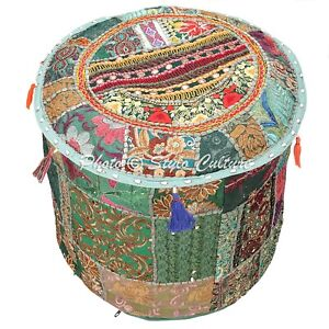 Ethnic Pouf Ottoman Cover Green Furniture Patchwork Embroidered Round 16 Inch