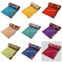 Indian Kantha Printed Cotton Bedding Bedspread Coverlet Blanket Quilt Cover Twin