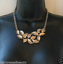 Gold Leaf Necklace Grecian Boho Celebrity Festival Chain Athena Bib Roman L70