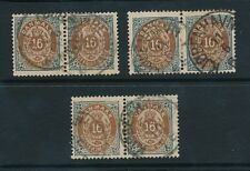 DENMARK 1875-1900 16 ore FINE USED DIFFERENT TYPES...3 PAIRS