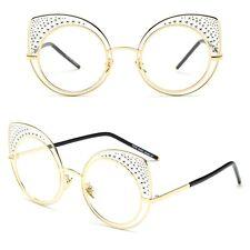 Designer Cat Eye Rhinestones Flat Mirror Vintage Large Women Fashion Sunglasses