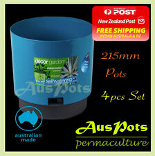 215mm Plastic Garden Self Watering Pots 4pcs Set - Indoor & Outdoor - Made in AU