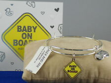 Alex And Ani Shiny Silvertone BABY ON BOARD Adjustable Braclelet A18EB01SS $38