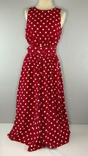 My Michelle Womens Dress 9/10 Long Full Red White Polka Dots Vintage Sleeveless
