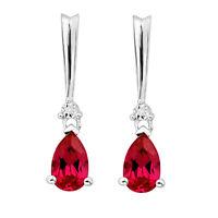 2 1/3Ct Ruby Teardrop Earrings with Diamond Sterling Silver Free Shipping