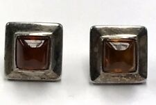 Vintage Oxidized Sterling 925 Baltic Amber Halo Geometric Square Stud Earrings