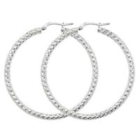 925 HALLMARKED STERLING SILVER POLISHED TEXTURED 40MM X 3MM HOOP EARRINGS