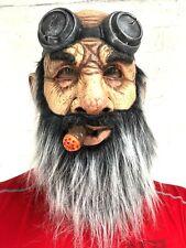 Old Man Mask Harley Biker Grey Beard Fake Cigar Full Head Latex Costume Adult