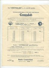 N°9428 /  prospectus radio-consortium le potentiométre Centralab   1925 ?