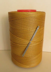 RITZA TIGRE WAXED HAND SEWING THREAD 0.8mm  FOR LEATHER & 2 NEEDLES -TAN JK79
