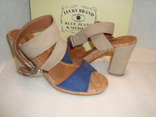 Lucky Brand Womens NWB Sundd Morcon Blue Chinchila Sandals Shoes 9.5 MED NEW